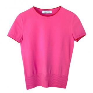 Valentino Pink Crepe Knit Short Sleeve Top