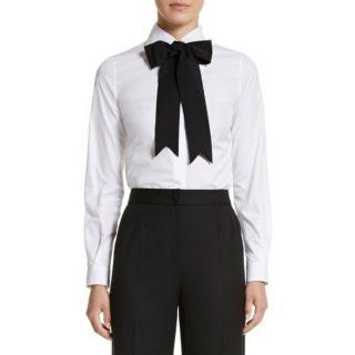 Dolce & Gabbana White Cotton Bow Tie Shirt