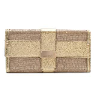 Jimmy Choo Gold Leather & Glitter Clutch