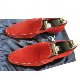 Angelo Galasso Red Suede Loafers