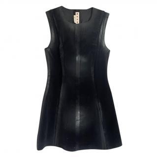 Marni Black A-Line Zip Front Mini Dress