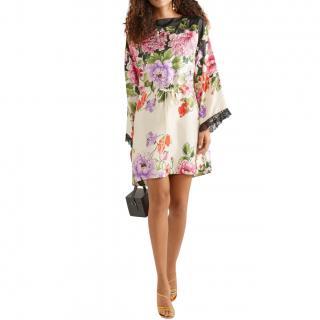 Gucci Ivory Rising Flowers Silk Twill Mini Dress