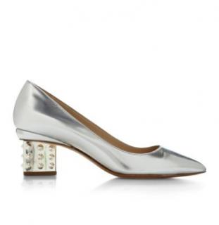 Nicholas Kirkwood Silver Triangle Pump Stud Heel shoes sz37