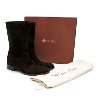 Loro Piana Brown Suede Flat Boots