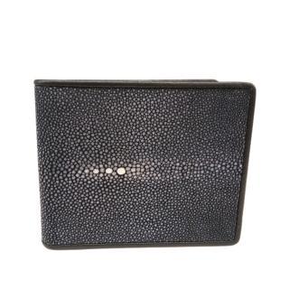 Hidetoshi Black Stingray Bi-Fold Wallet