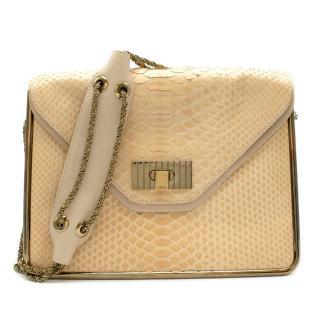 Chloe Cream Python Skin Flap Shoulder Bag