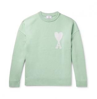 Ami Mint Green Merino Wool Logo Jumper