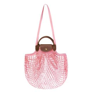 Longchamp x Filt Powder Pink Le Pliage Filet top handle bag
