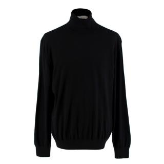Ermenegildo Zegna Black Silk & Cashmere Turtleneck Sweater