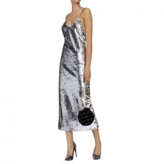 Stella McCartney Silver Sequin Midi Dress