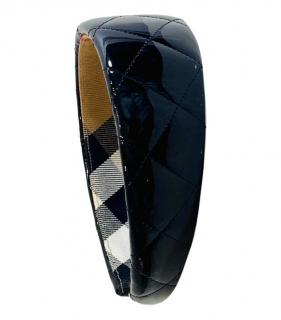 Burberry Black Patent Quilted Leather Hairband