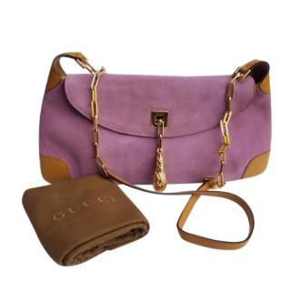 Gucci by Tom Ford Suede & Leather Purple Shoulder Bag