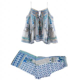 Camilla Salvador Summer Print Drop Shoulder Top & Side Pleat Pants