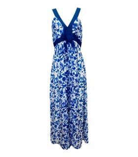 CH Carolina Herrera Blue Silk Floral Maxi Dress