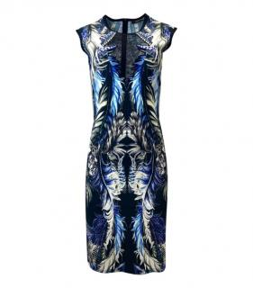 Roberto Cavalli Blue Printed Fitted Dress