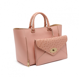 Mulberry Ballet Pink Ostrich & Leather Willow Tote Bag