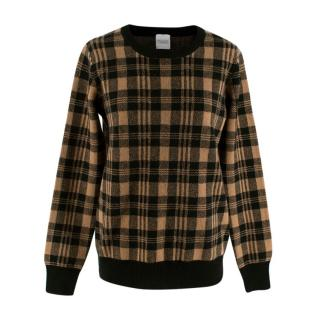 Madeleine Thompson Camel & Black Cashmere Blend Jafar Sweater
