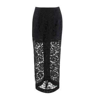 Alessandra Rich Black Lace Midi Skirt