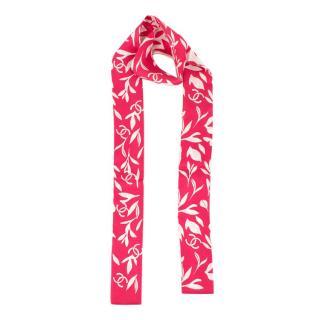 Chanel Pink Floral CC Silk Bandeau