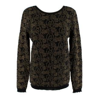 Chanel Black & Gold Camellia Knit Wool Scoop Back Jumper