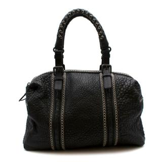 Bottega Veneta Black Grained Leather Intrecciato Detail Handbag