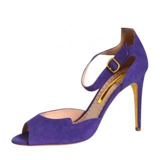 Rupert Sanderson Telita Suede Purple Sandals