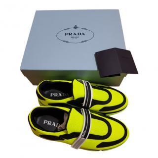 Prada Neon Sport Strap Knit Sneakers