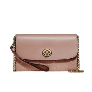 Coach Nude Signature Leather Wallet on Chain