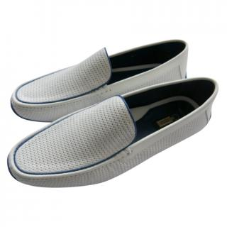 Zilli White Woven Leather Loafers