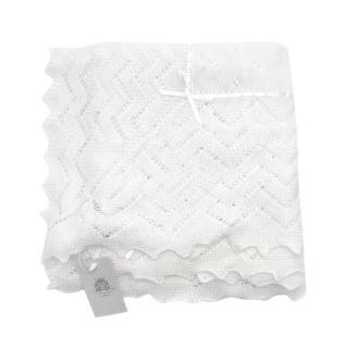 Harrods of London White Cotton & Wool Ribbon Trim Baby Shawl