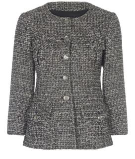 Chanel Grey Tweed Single Breasted Tailored Jacket