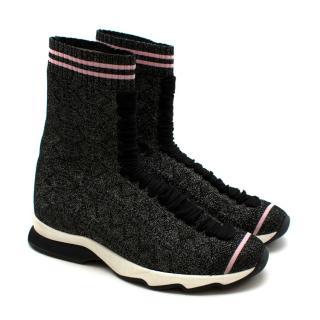 Fendi Grey Lurex Sock Trainers