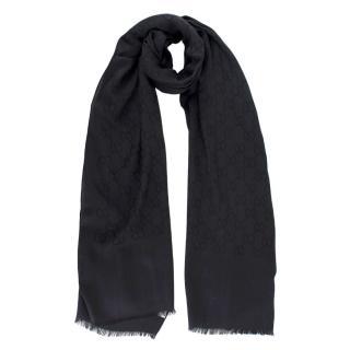 Gucci Black Wool & Silk Jacquard GG Stole