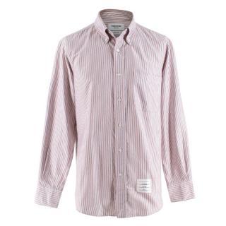 Thom Browne Red & Black Striped Cotton Shirt