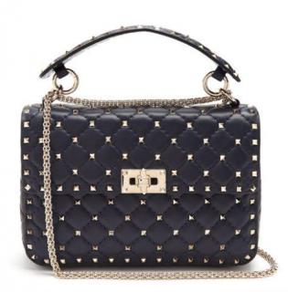 Valentino Navy Leather Rockstud Spike Shoulder Bag