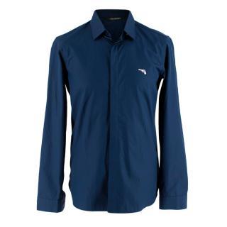 Neil Barrett Blue Gun Embroidered Long Sleeve Shirt