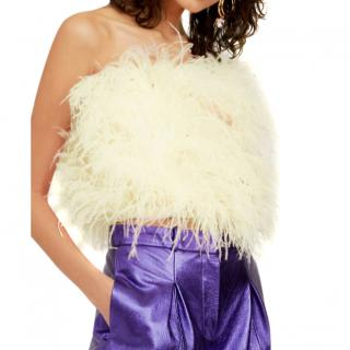 The Attico Ostrich Feathers And Pearls Embroidered Top