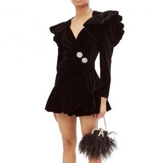The Attico Crystal-button ruffled velvet wrap dress