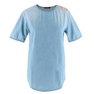 Balmain Blue Cotton Denim Buttoned Top