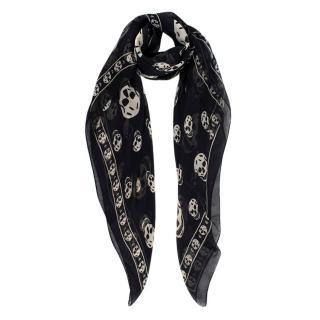 Alexander McQueen Black Skulls Silk Scarf