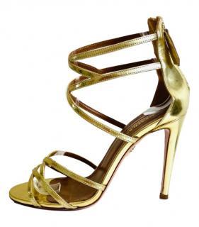 Aquazzura Gold Strappy Wrap Sandals