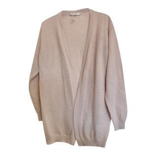 Max Mara Pink Mohair Blend Knit Cardigan