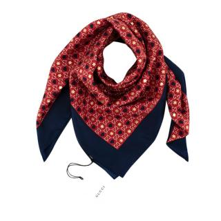 Gucci Red & Blue GG Monogram with Stars 90 Silk Scarf