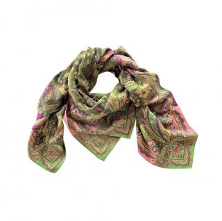 Etro Paisley Wool & Silk Scarf 130cm