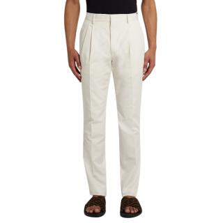 Fendi Ivory Cotton Blend Tailored Trousers