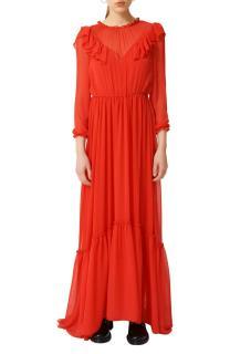 Maje Red Long Muslin Dress with Ruffles
