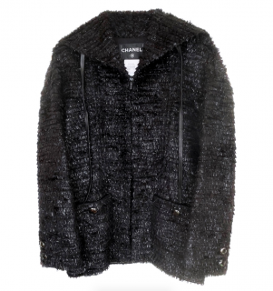 Chanel Navy Faux Fur Leather Trimmed Runway Coat