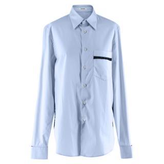 Blouse Blue Lace trimmed Long Sleeve Cotton Shirt
