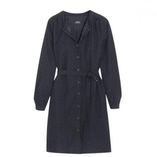 APC Navy Embroidered Rosy Dress