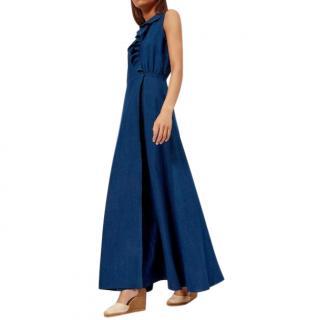 APC Indigo Ruffed Ingrid Maxi Dress